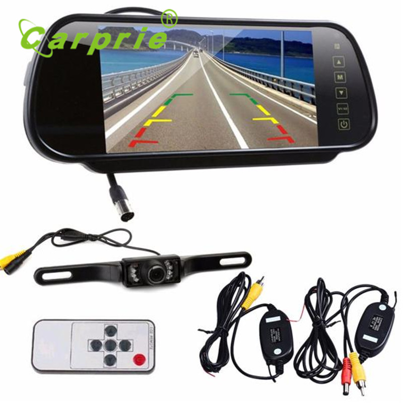 Auto 7 LCD Mirror Monitor+Wireless Car Reverse Rear View Backup Camera Night Vision Dec17
