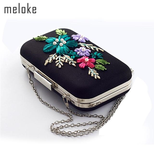 Meloke 2018 high quality handmade evening bags fashion flowers mini clutch  bags with chain silk wedding dinner bags MN664 46342a02d101