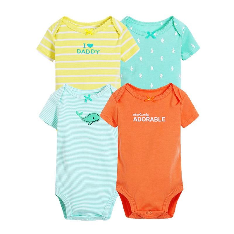 4pcs/lot Cotton Baby Bodysuit Summer Short Sleeve Baby Boy Girl Jumpers Clothes Jumpsuit Newborn Bodysuit Infant Costumes