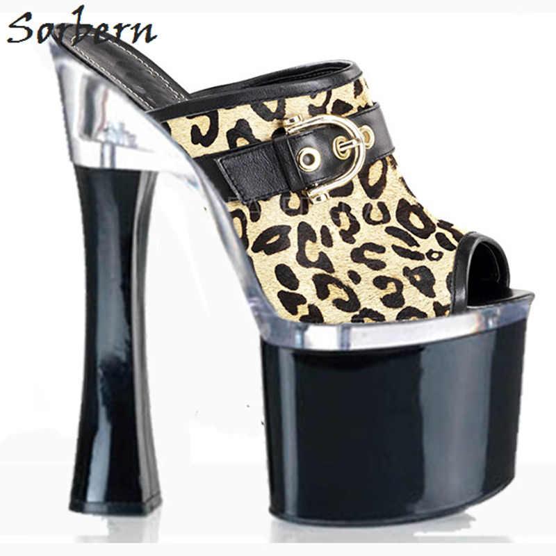 Sorbern Leopard Outdoor kobiety kapcie z wystającym palcem letnie buty dla kobiet 18Cm kwadratowe wysokie obcasy 8Cm platformy damskie buty 2018 nowe