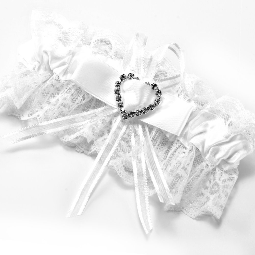 Elastic XL XXL Bridal Lace Garter PLUS SIZE w//Heart and Key Charm EXTRA WIDE