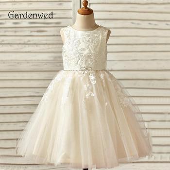 Puffy Ball Gown Blue Tiered Flower Girl Dress 2019 Layers Dark Sequin Top Tea Length Girls Formal Dress Children Communion