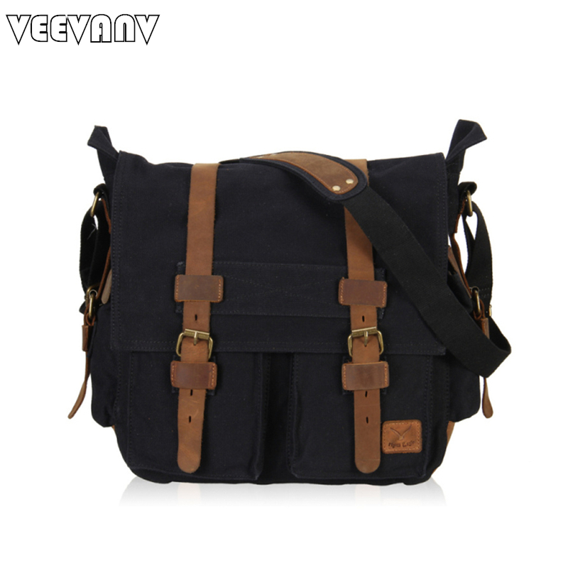 New 2018 Vintage Men Messenger Bag Canvas Shoulder Bag Men Business Briefcase Men's Travel Crossbody Bag School Notebook Satchel retro british school women messenger bag embossed hollow out shoulder briefcase department of forestry casual satchel