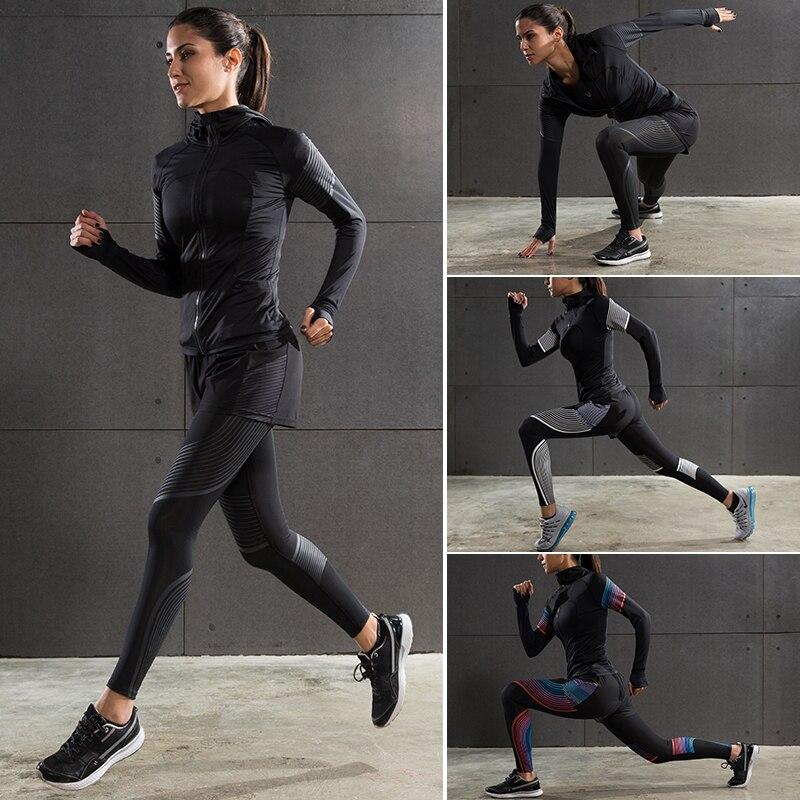 Для женщин спортивной подготовки Колготки спортивный костюм Для женщин Йога одежда Место тренажерный зал влагу сжатия комплект для бега Ко... ...