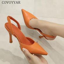 COVOYYAR 2019 High Heels Pointed Toe Thin Heeled Lady Pumps Elegant Slingbacks Spring Summer Women Shoes Stiletto Sandals WHH169 spring and summer thin heels high heeled pointed toe button female sandals small yards 31 32 33 plus size 40 41 42 43