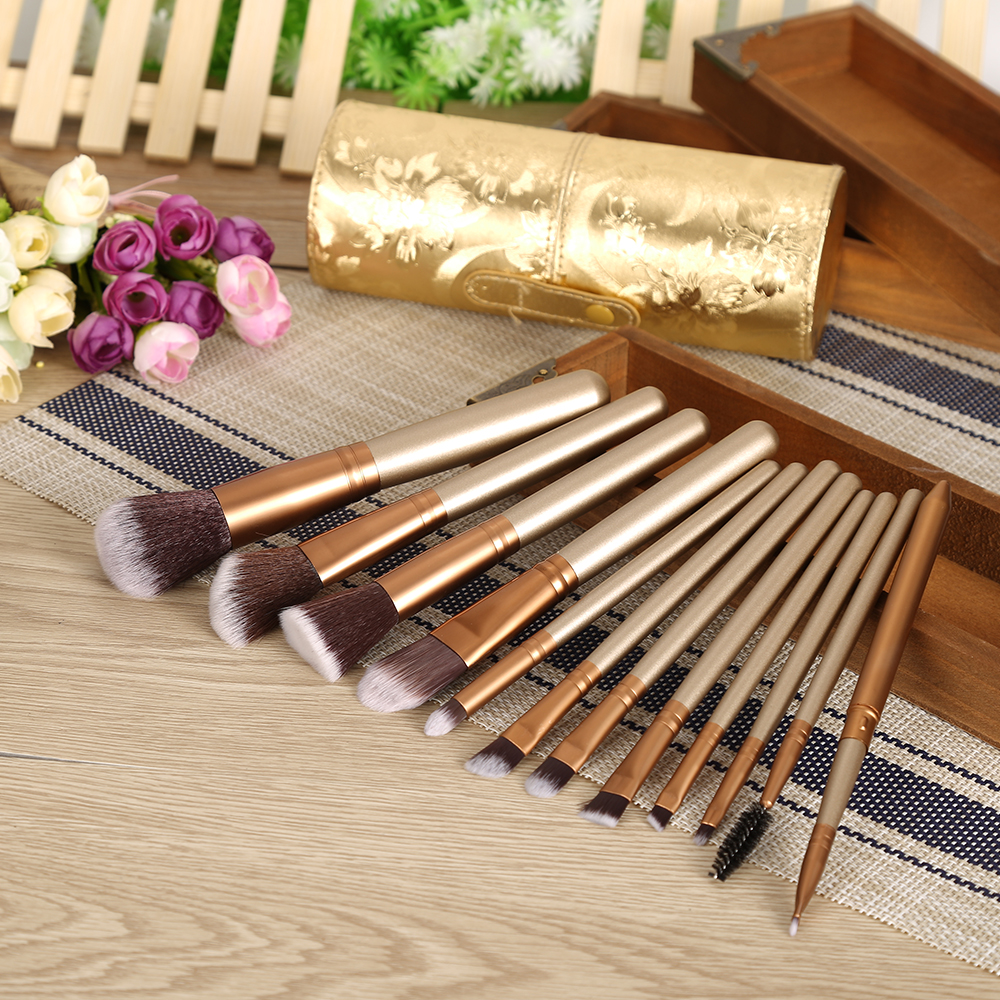 High Quality 12Pcs Women Nylon Hair Soft <font><b>Makeup</b></font> Brushes Kit Tool+Golden/<font><b>Purple</b></font> Leather <font><b>Cup</b></font> Holder With Peony Pattern