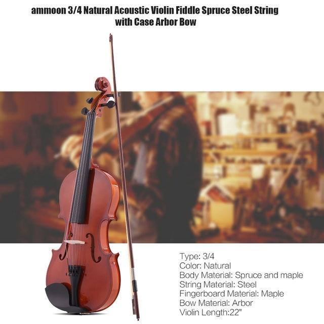 Online Shop Ammoon 14 12 34 44 Natural Acoustic Violin Fiddle