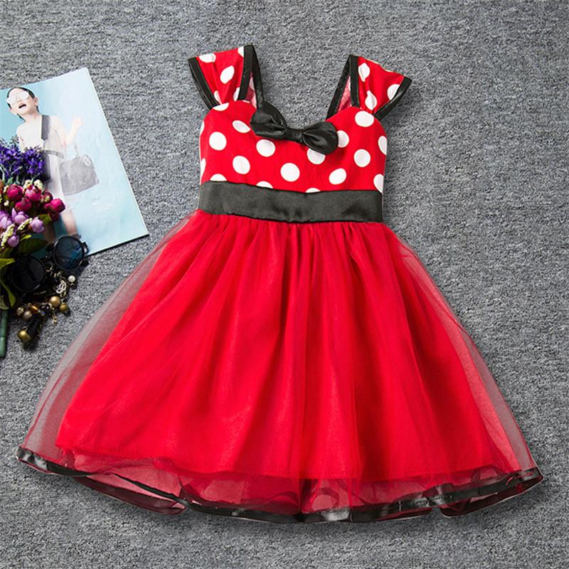 New Summer Pageant Princess Girls Gown Dress Red Polka Dot Pattern Kids Party Bow Dresses Girl Sleeveless Vestido Clothes