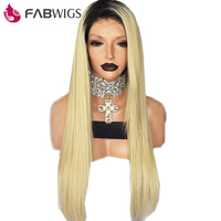 Fabwigs 180% Density Full Lace Human Hair Wigs with Baby Hair Pre Pluched 1B 613 Blonde Ombre Hair Wig Brazilian Remy Hair