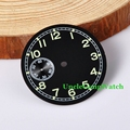 Watch Parts, Parnis 38.95mm Black Dial Green Marks for Seagull / ETA 6497 Hand Winding Mov't, Second Dial at 6 O'clock D38.95BG