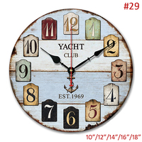 Antique Light Blue White Beach Accents with Arabic Numerals Printed 10, 12, 14, 16, 18 inches Single sided Decor Wall Clock