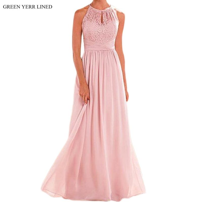 Baratos Vestido de encaje de color rosa vestidos de dama de honor ...