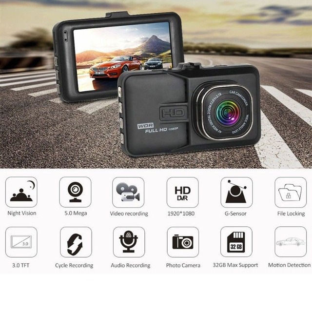 3 Inch Dash Camera Mini Dash Cam Night Vision Car DVR HD 1080P Dashcam 170 Wide-angle Driving Recorder Vehicle Gravity Sensing