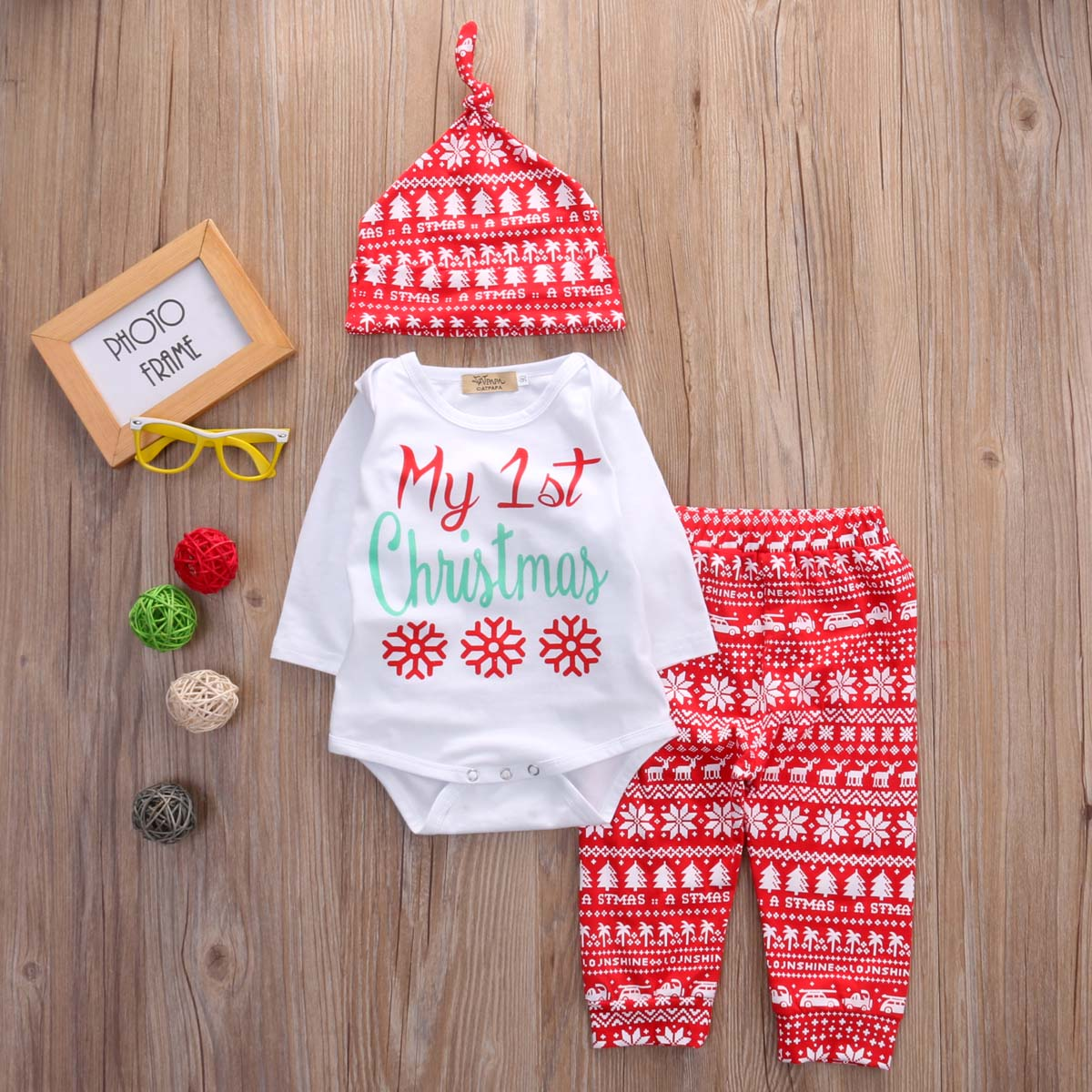 Christmas Baby Girls Print Tops Romper Pants Legging Hat Xmas Outfit Set Clothes 3pcs set newborn girls christmas clothes set warm hat letter print romper love arrow print pants leisure toddler baby outfit set