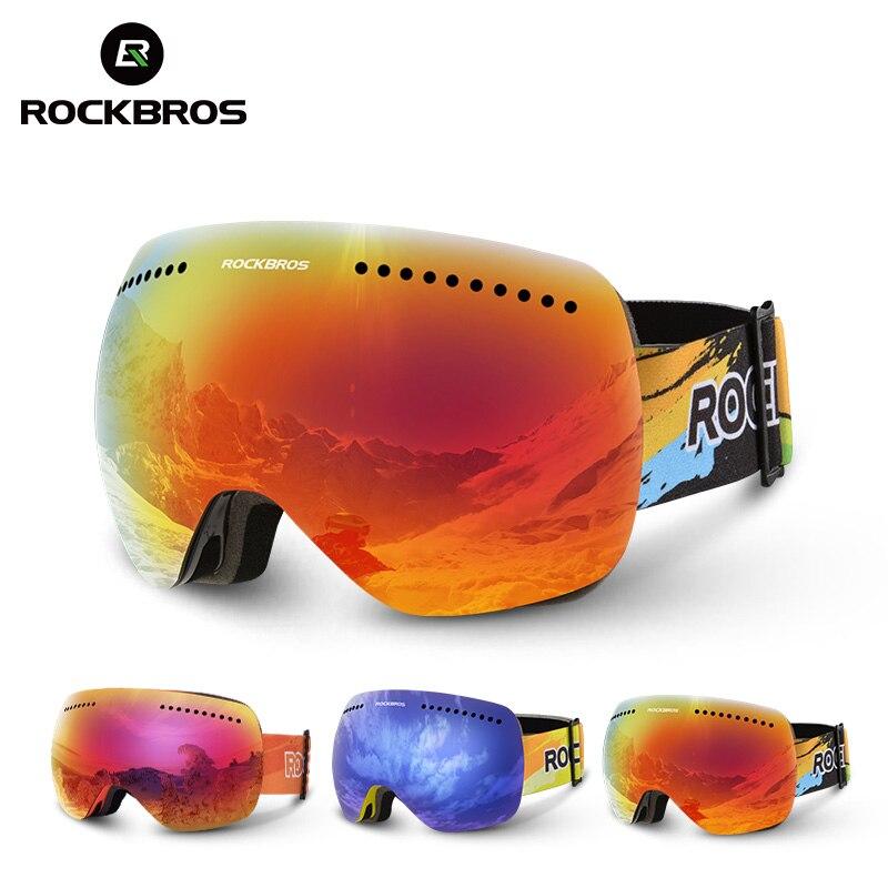 עדשות כפולות ROCKBROS משקפי סקי UV 400 משקפי סנובורד משקפיים סקי סנובורד מסכת גדול גברים נשים שכבות Eyewear מנוע