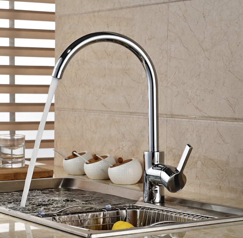 Chrome Brass Kitchen Faucet Single Handle Hole Vessel Sink Mixer Tap Swivel Spout Deck Mounted newly contemporary solid brass chrome finish arc spout kitchen vessel sink faucet thermostatic faucet mixer tap deck mounted