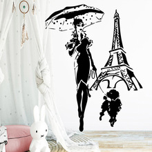 Delicate eiffel tower Wall Sticker Art Wall Paper For Kids Room Living Room Decoration Removable Decals Stickers Murals цена 2017