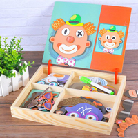 Baby Early Learning Magnetic Wooden Puzzle Toys Development Board Fight Educational Toy Drawing Kids Intelligence Toy