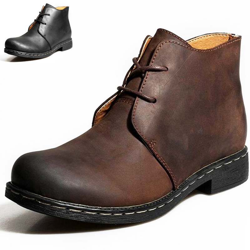 New Men's Chelsea Boots Ankle Boots Big Size Black/Brown Fur Plush British Style Man Boots Soft Leather  Size 38-47