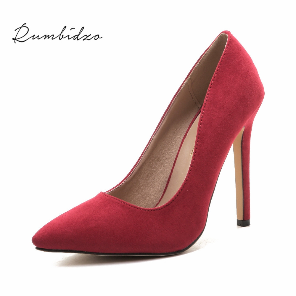 Rumbidzo Plus size Women Pumps 2018 Sexy High Heels Pointed Toe Party Shoes Woman Wedding Office Pumps Red Green Zapato Mujer plus size sexy high heels women pumps pointed toe woman ladies party valentine dress wedding shoes tenis feminino zapatos mujer