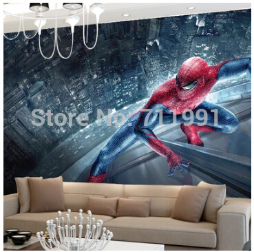 Free shipping custom 3D large murals of children room bedroom to the living room TV background wall paper spider man the latest 3d murals dream of the sun exposure forest trees stone waterfall scenery living room tv sofa bedroom wall paper
