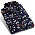 Nova Primavera Dos Homens Casuais Camisas de Manga Comprida Moda Marca Impresso Botão-Up Polka Dot Floral Homens Vestido Formal do Negócio camisa
