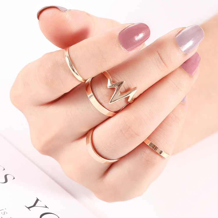 Women Ring Girls Gold Silver Retro Fashion Jewelry Trend Gift Vintage Ring Set Combination Boho New Heartbeat 5 piece set