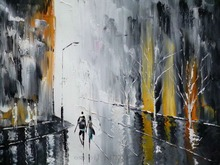 Fine Wall Art Black and White Style Hand painted Knife Landscape Oil Painting on Canvas Rainy Day Hang Picture for Home Decor