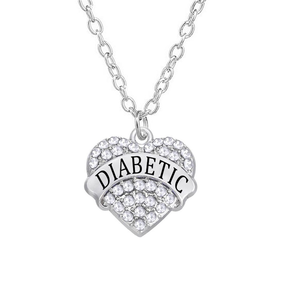Diabetic on a Heart Charm Sterling Silver Pendant Word Medical