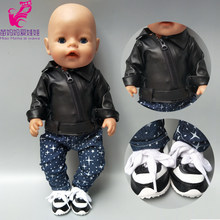 doll clothes for 43cm born Baby dolls clothes black PU leather doll jacket for 40cm baby doll accessories(China)