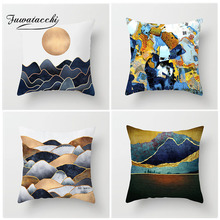Fuwatacchi Oil Painting Cushion Cover Sunrise Mountain Peak Pillow Decor Home Living Room Decorative  Pillowcases