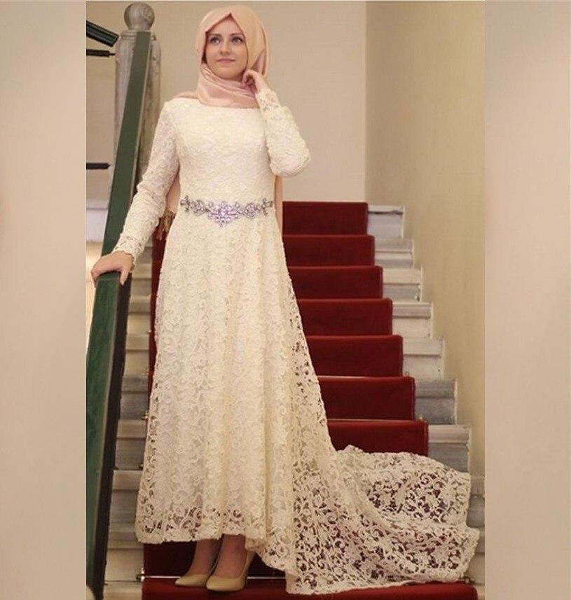 2016 Hign низкий бежевый кружева хиджаб мусульманин вечернее платье с длинным рукавом платье исламская дубай кафтан
