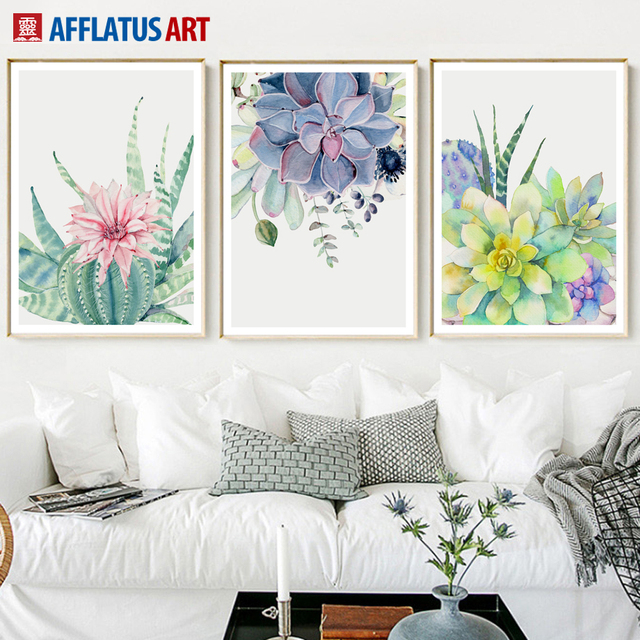 Wall Art Canvas Painting Posters And Prints Watercolor Cactus Flower ...