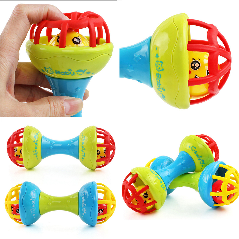 Dumbells Shape Baby Toy Rattles Bell Shaking Early Intelligence Development Toys