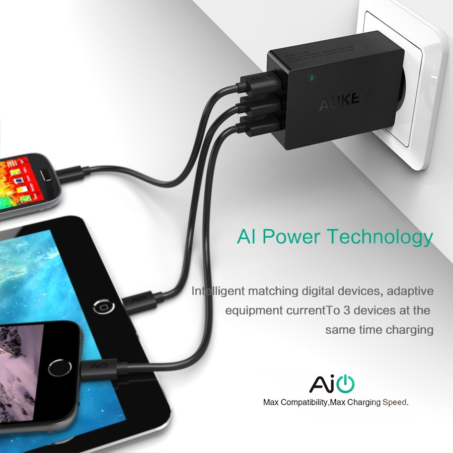 AUKEY 3 Port Universal USB Charger Portable Wall Charger Travel EU ...