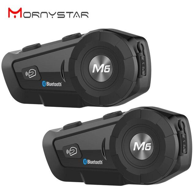 2 pcs M6 À Prova D' Água Da Motocicleta Moto Capacete Do Bluetooth Interfone Interfone Headset com Rádio FM Sem Fio fone de Ouvido do Capacete para o Cavaleiro