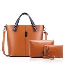 Marca de alta calidad de cuero bolso de la vendimia mujer medio grandes bolsas de asas femenina crossbody bolsas para mujeres bolso 3 unids/set