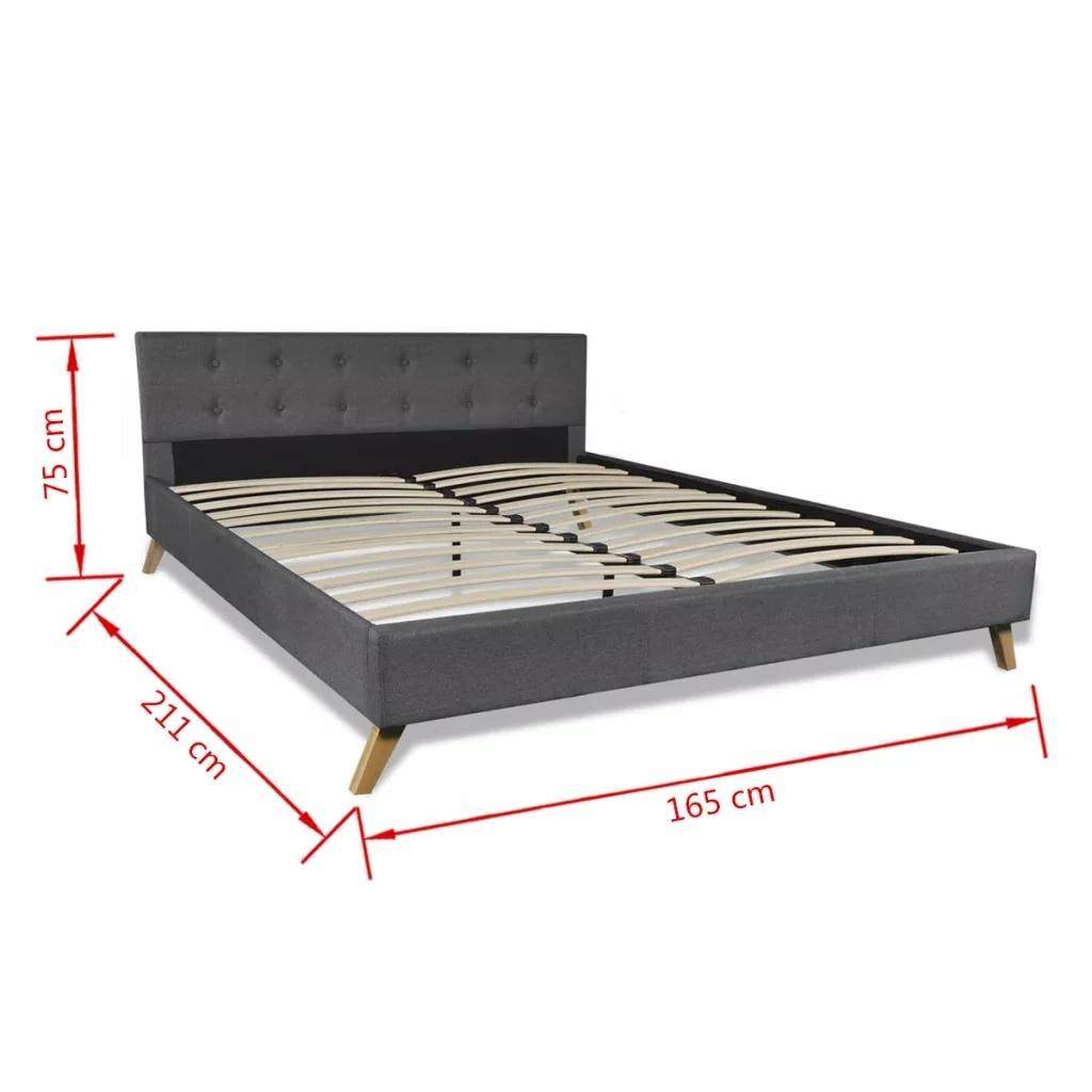 VidaXL bois de lit gris foncé avec rembourrage en tissu lit intérieur élégant et robuste MDF + lattes en contreplaqué + pieds en bois de peuplier - 5