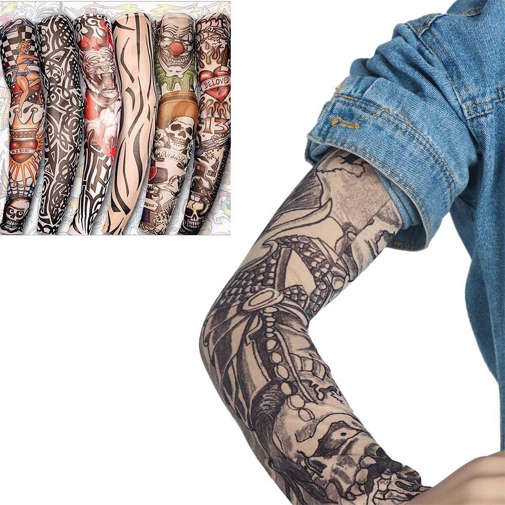 2 Pcs/lot Multicolor Punk Men Women UV Sunscreen Skull Theme Fake Tattoo Sleeves Arm Warmers New Fashion
