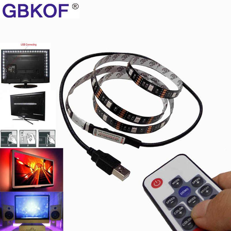 Светодиодный свет белый, черный, pcb DC5V 5050 SMD RGB usb-кабель светодиодный полосы света ТВ Подсветка ленточный светильник RGB пульт дистанционного управления, 1 м, 2 м, 3 м, 4 м, 5 м