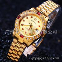 ファッションブランドレディースドレス腕時計ゴールドフルスチールカレンダー腕時計famaleクォーツ腕時計女性ゴールド女性クォーツ腕時計
