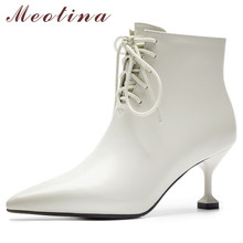 Meotina Genuine Leather Ankle Boots Women Lace Up Kitten High Heels Short Boots Real Leather Zipper Shoes Lady Autumn Size 33-40 2018 superstar genuine leather zipper lace up high heels women ankle boots runway strange style fashion autumn winter shoes l33