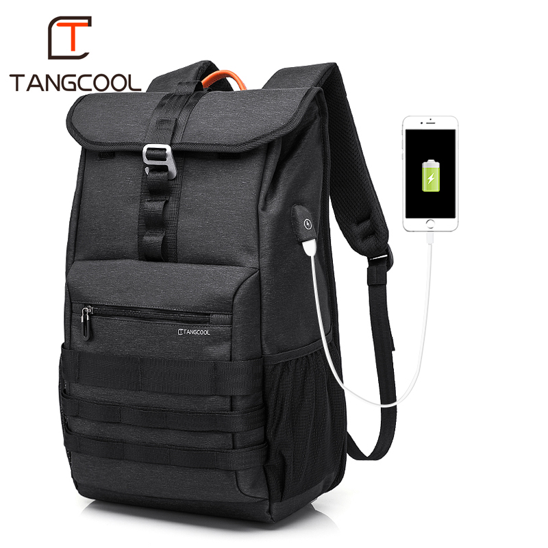 Tangcool Fashion Waterproof Backpack Colleage Student USB Laptop Backpack Travel Outdoor Bags Men Sports Rucksack compact fashion waterproof men backpack
