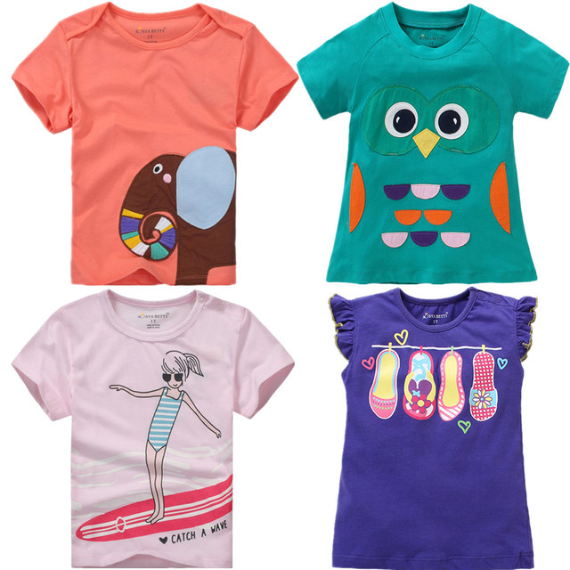 08ff32a9bbde4 US $4.74 5% OFF|Brand New Latest 2017 Summer Baby Girls Clothes Short  Sleeve O neck t Shirt Embroidery Cartoon Elephant Tee Tops for girls-in  Tees ...