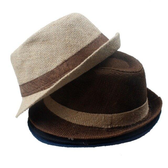 Kids Baby Child Sun hat Linen Fedora Trilby Gangster Cap Summer Beach Hat  Boho Sun hat b13d77ad6443