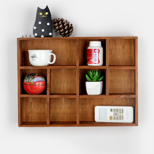 13 Lattices Solid Wooden Shelf Wall Wood Hanging Storage Rack Sundry Goods/  Toys Wooden Box
