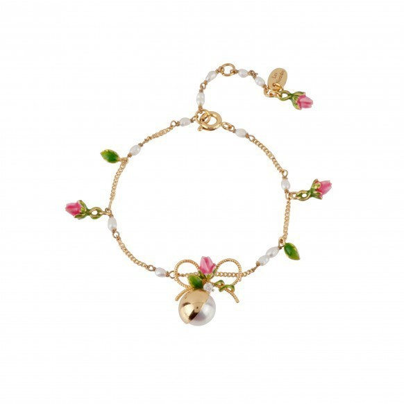 New Love Of Symbol Series Rose Flower Bow Pearl Green Leaf Bracelet Woman Gold Plated Prevent allergy Jewelry Free Shipping