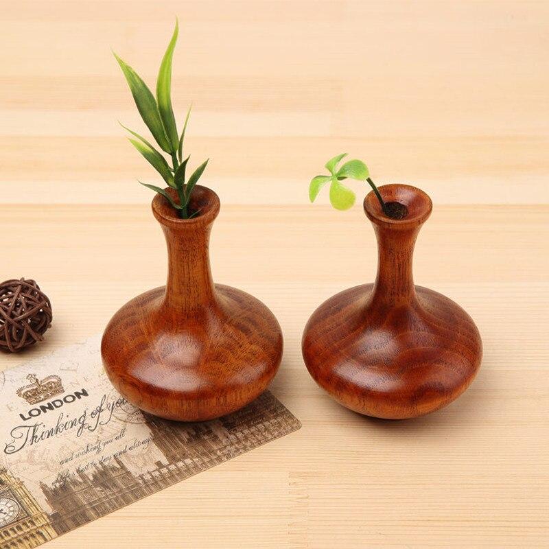 Массивная деревянная ваза мини ваза для цветов Ретро весь деревянное украшение цветок Главная/офис/партия/Бар Декор на день рождения подар...
