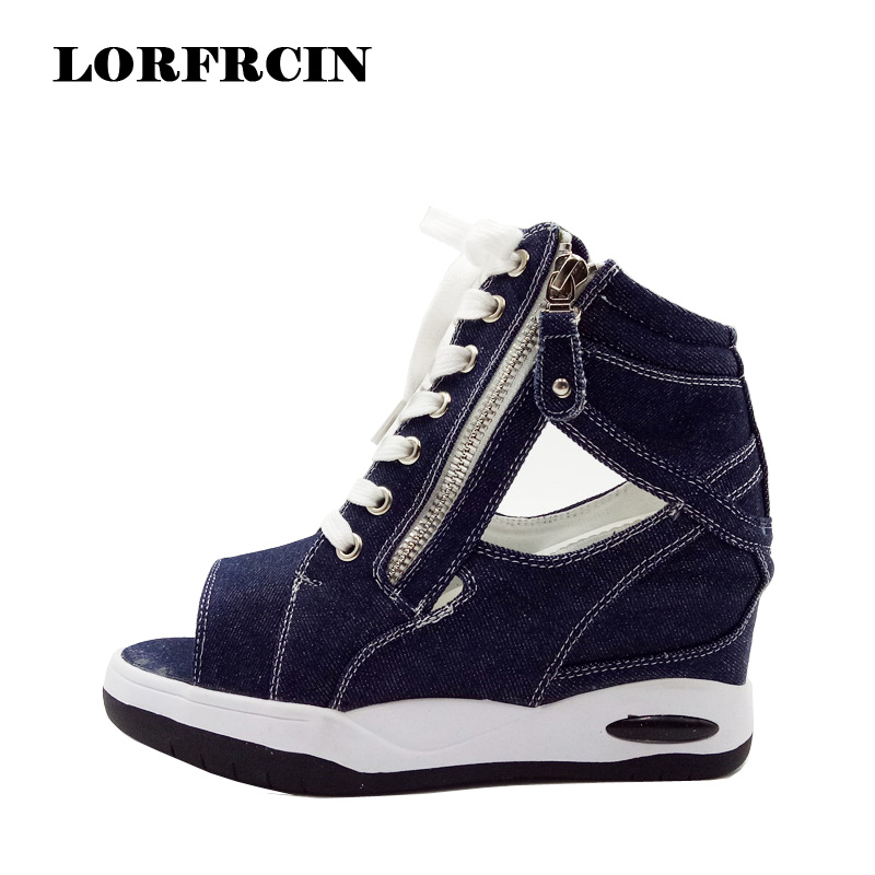 LORFRCIN Canvas Shoes Women Summer Wedge Platform Sandals Denim Casual Shoes Woman High Heels Sandal Cutout Thick Heel Pumps choudory bohemia women genuine leather summer sandals casual platform wedge shoes woman fringed gladiator sandal creepers wedges