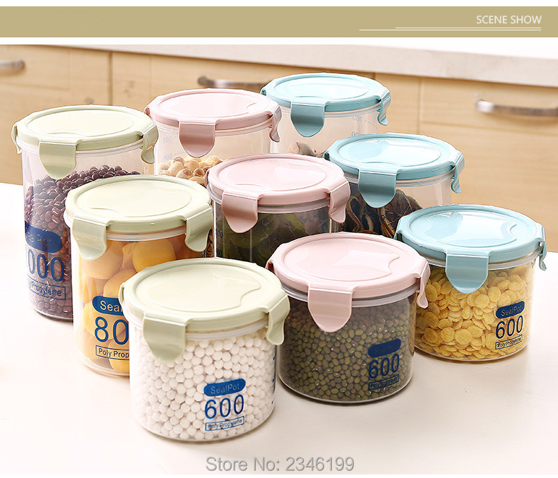 Plastic Clear Food Storage Bottles With Scale Candy Nut Liqiid Jar Seal Pot Tea Powder Fruit Cans Empty Storage Packaging 6pcs